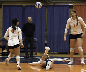 SU recorded a .000 hitting percentage in the second set, and dropped the match in straight sets.
